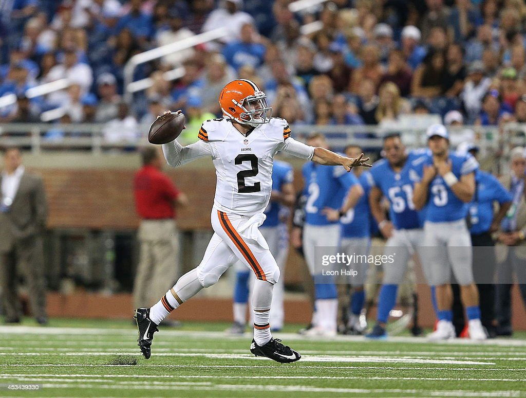 Quarterback Johnny Manziel #2 of the Cleveland Browns rolls out to pass during the third quarter of the preseason game against the Detroit Lions at Ford Field on August 9, 2014 in Detroit, Michigan. The Lions defeated the Browns 13-12 in a preseason game.
