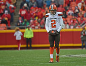 Quarterback Johnny Manziel of the Cleveland Browns walks off the field after a third down play against the Kansas City Chiefs during the first half...