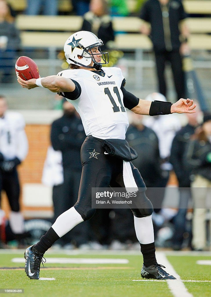 Quarterback Jordan Rodgers #11 of the Vanderbilt Commodores passes the ball against the Wake Forest Demon Deacons at BB&T Field on November 24, 2012 in Winston Salem, North Carolina.