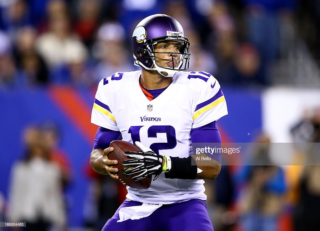 Quarterback Josh Freeman #12 of the Minnesota Vikings drops back to pass against the New York Giants during a game at MetLife Stadium on October 21, 2013 in East Rutherford, New Jersey.