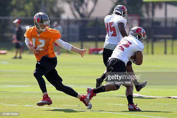 Quarterback Josh McCown hands the ball off to Doug Martin during the Buccaneers OTA at One Buccaneer Place in Tampa Florida
