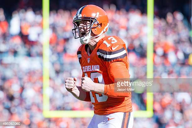 Quarterback Josh McCown of the Cleveland Browns celebrates after throwing a touchdown pass during the first half against the Arizona Cardinals at...