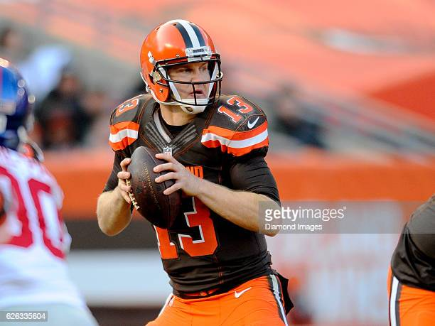 Quarterback Josh McCown of the Cleveland Browns drops back to pass during a game against the New York Giants on November 27 2016 at FirstEnergy...