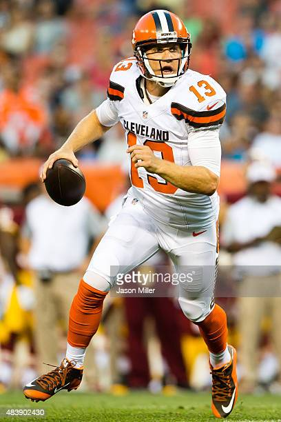 Quarterback Josh McCown of the Cleveland Browns looks for a pass during the first half against the Washington Redskins at FirstEnergy Stadium on...