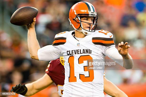 Quarterback Josh McCown of the Cleveland Browns passes during the first half against the Washington Redskins at FirstEnergy Stadium on August 13 2015...