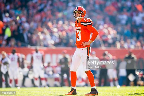 Quarterback Josh McCown of the Cleveland Browns reacts after a play during the first half against the Arizona Cardinals at FirstEnergy Stadium on...