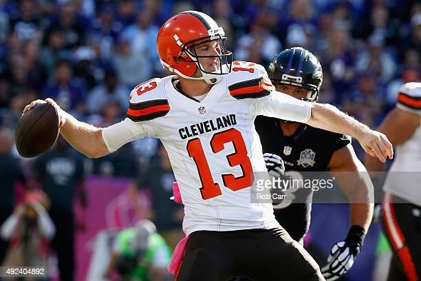 Quarterback Josh McCown of the Cleveland Browns throws a pass against the Baltimore Ravens at MT Bank Stadium on October 11 2015 in Baltimore Maryland