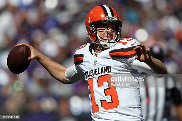 Quarterback Josh McCown of the Cleveland Browns throws the ball in the second quarter of a game against the Baltimore Ravens at MT Bank Stadium on...