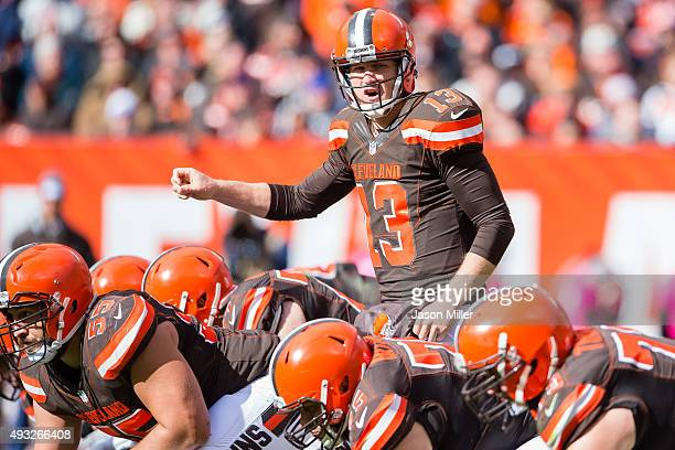 Quarterback Josh McCown of the Cleveland Browns yells to his teammates during the second half against the Denver Broncos at FirstEnergy Stadium on...