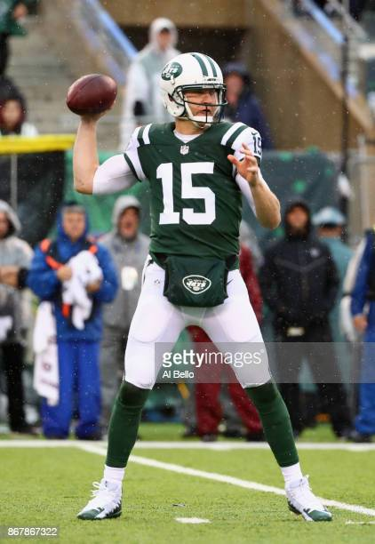 Quarterback Josh McCown of the New York Jets looks to pass against the Atlanta Falcons during the first half of the game at MetLife Stadium on...