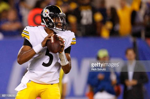 Quarterback Joshua Dobbs of the Pittsburgh Steelers on the sidelines during the fourth quarter against the New York Giants during an NFL preseason...