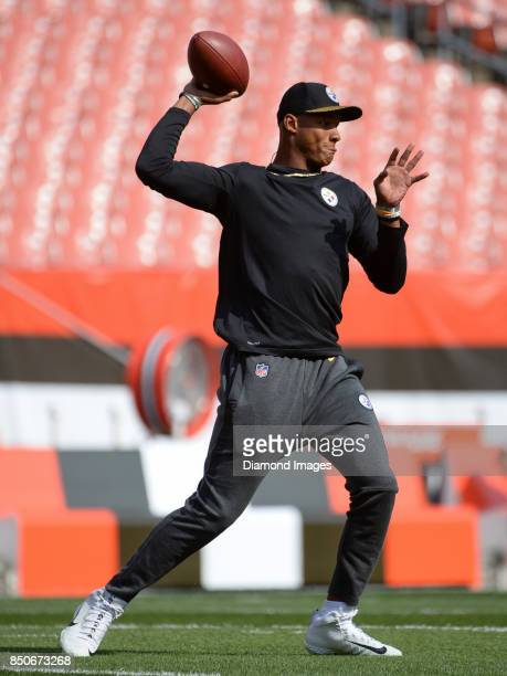 Quarterback Joshua Dobbs of the Pittsburgh Steelers throws a pass prior to a game on September 10 2017 against the Cleveland Browns at FirstEnergy...