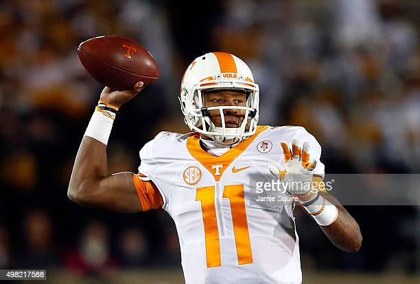 Quarterback Joshua Dobbs of the Tennessee Volunteers passes during the game against the Missouri Tigers at Faurot Field/Memorial Stadium on November...