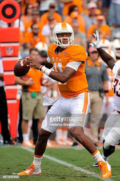 Quarterback Joshua Dobbs of the Tennessee Volunteers plays against the Bowling Green Falcons at Nissan Stadium on September 5 2015 in Nashville...