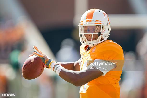 Quarterback Joshua Dobbs of the Tennessee Volunteers prior to their game against the Ohio Bobcats at Neyland Stadium on September 17 2016 in...