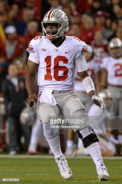 Quarterback JT Barrett of the Ohio State Buckeyes in action against the Nebraska Cornhuskers at Memorial Stadium on October 14 2017 in Lincoln...