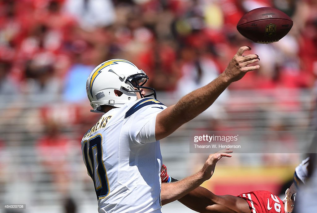 Quarterback Keelen Clemens #10 of the San Diego Chargers throws a pass during the second quarter of their preseason game against the San Francisco 49ers at Levi's Stadium on August 24, 2014 in Santa Clara, California.