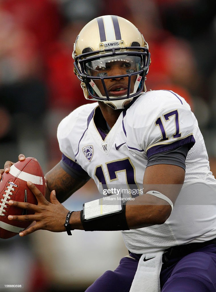 Quarterback Keith Price #17 of the Washington Huskies during the game against the Washington State Cougars at Martin Stadium on November 23, 2012 in Pullman, Washington.