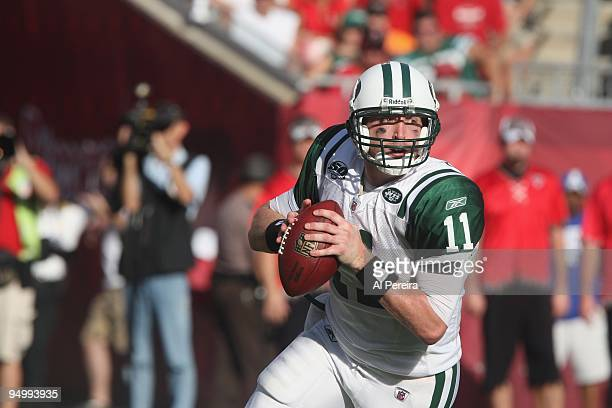 Quarterback Kellen Clemens of the New York Jets rolls out against the Tampa Bay Buccaneers whent eh Tampa Bay Buccaneers host the New York Jets at...