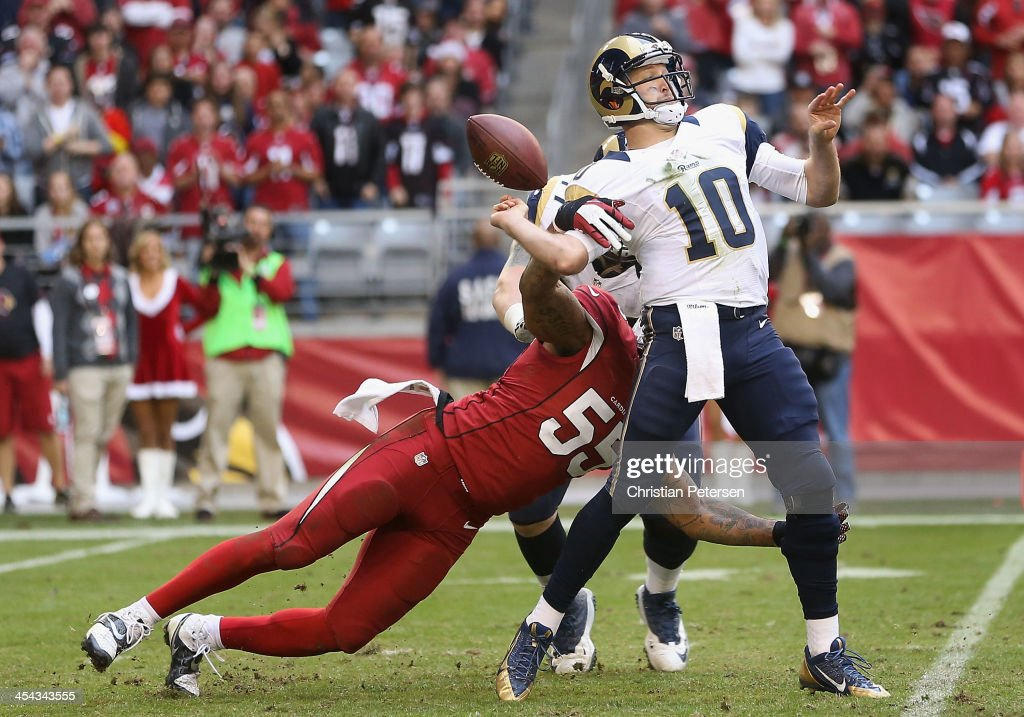Quarterback <a gi-track='captionPersonalityLinkClicked' href=/galleries/search?phrase=Kellen+Clemens&family=editorial&specificpeople=221591 ng-click='$event.stopPropagation()'>Kellen Clemens</a> #10 of the St. Louis Rams fumbles the football as outside linebacker John Abraham #55 of the Arizona Cardinals knocks it loose during the third quarter of the NFL game at the University of Phoenix Stadium on December 8, 2013 in Glendale, Arizona. The Cardinals defeated the Rams 30-10.