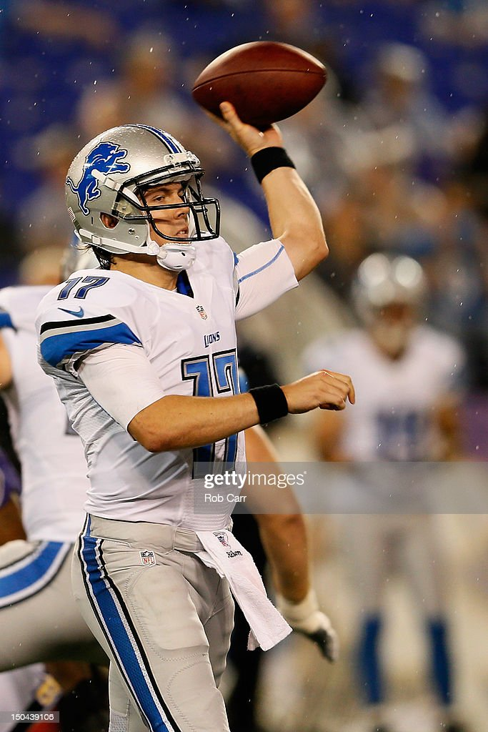 Quarterback <a gi-track='captionPersonalityLinkClicked' href=/galleries/search?phrase=Kellen+Moore&family=editorial&specificpeople=4523680 ng-click='$event.stopPropagation()'>Kellen Moore</a> #17 of the Detroit Lions throws a pass against the Baltimore Ravens during the second half at M&T Bank Stadium on August 17, 2012 in Baltimore, Maryland.