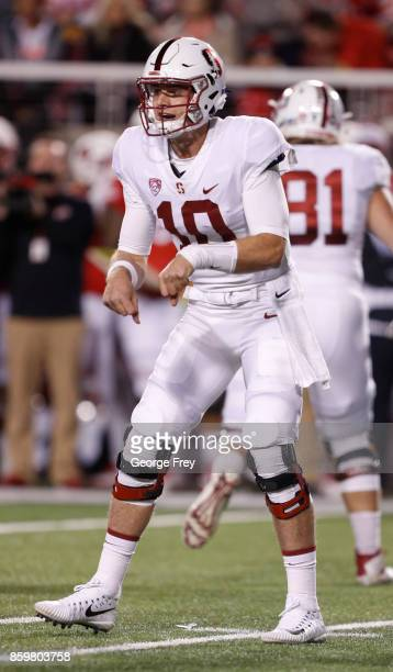 Quarterback Keller Chryst of the Stanford Cardinal calls a play during the first half of an college football game against the Utah Utes on October 7...