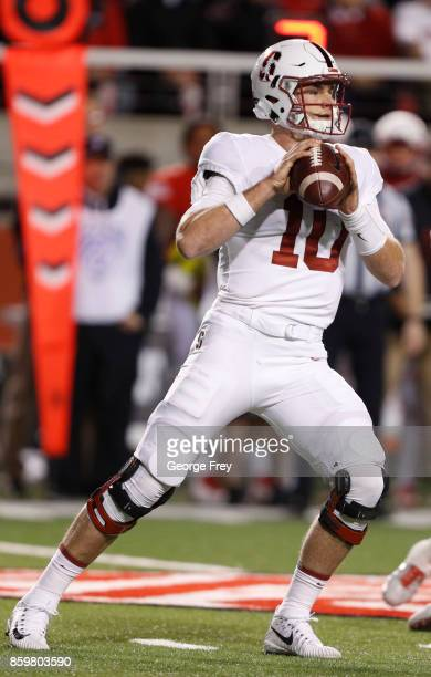 Quarterback Keller Chryst of the Stanford Cardinal looks to pass the ball during the first half of an college football game against the Utah Utes on...