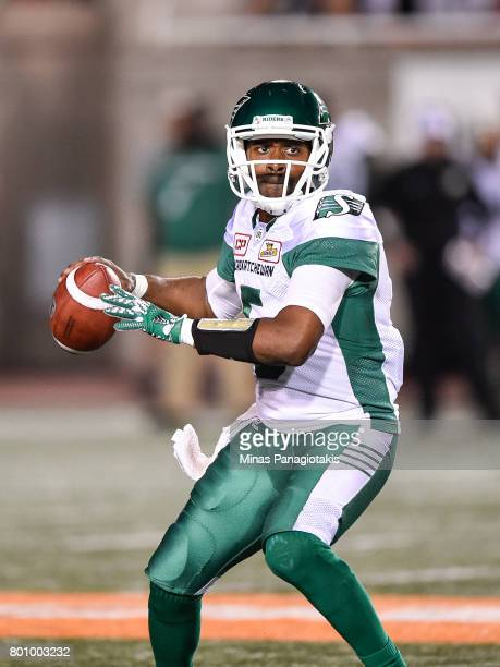 Quarterback Kevin Glenn of the Saskatchewan Roughriders looks to make a play in the second half against the Montreal Alouettes during the CFL game at...