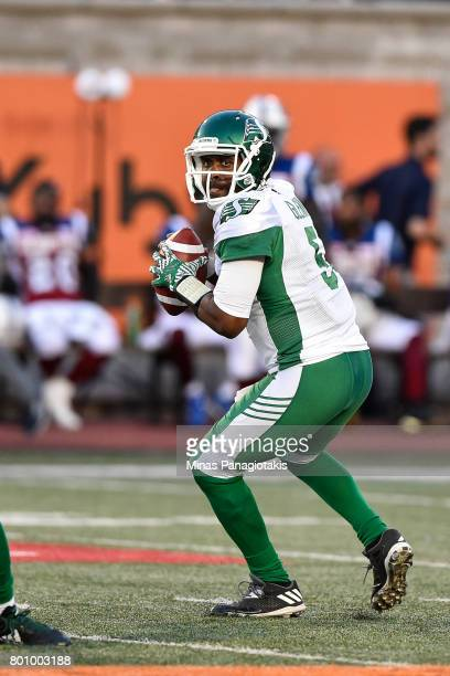 Quarterback Kevin Glenn of the Saskatchewan Roughriders looks to pass the ball against the Montreal Alouettes during the CFL game at Percival Molson...