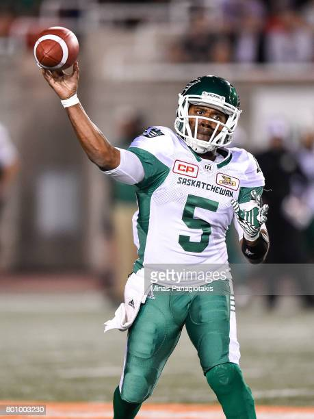 Quarterback Kevin Glenn of the Saskatchewan Roughriders throws the ball in the second half against the Montreal Alouettes during the CFL game at...