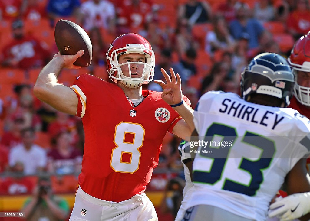 Quarterback Kevin Hogan #8 of the Kansas City Chiefs drops back to pass against the Seattle Seahawks during the second half on August 13, 2016 at Arrowhead Stadium in Kansas City, Missouri.