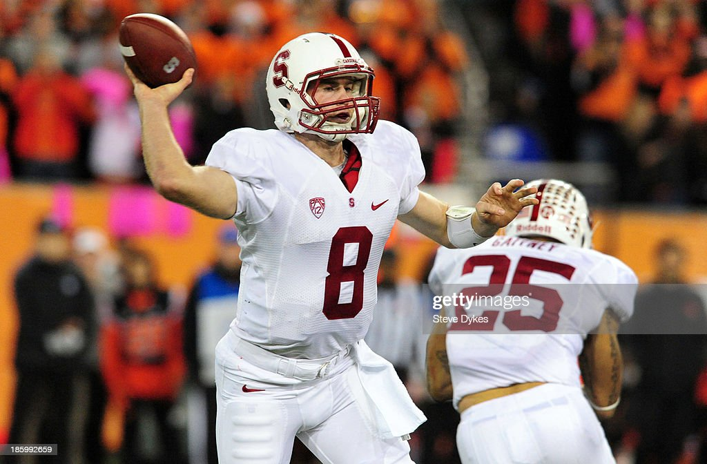 Quarterback <a gi-track='captionPersonalityLinkClicked' href=/galleries/search?phrase=Kevin+Hogan&family=editorial&specificpeople=6780512 ng-click='$event.stopPropagation()'>Kevin Hogan</a> #8 of the Stanford Cardinal passes the ball during the third quarter of the game against the Oregon State Beavers at Reser Stadium on October 26, 2013 in Corvallis, Oregon. Stanford won the game 20-12.