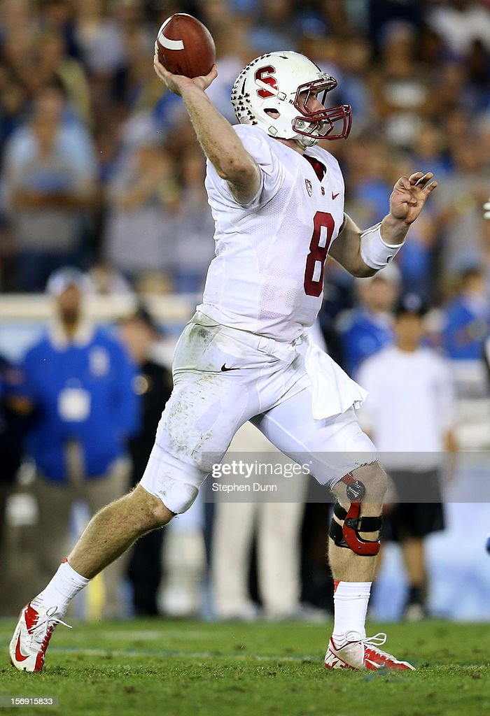Quarterback Kevin Hogan #8 of the Stanford Cardinal throws a pass against the UCLA Bruins at the Rose Bowl on October 13, 2012 in Pasadena, California. Stanford won 35-17.