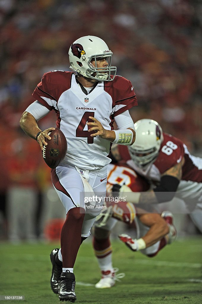 Quarterback <a gi-track='captionPersonalityLinkClicked' href=/galleries/search?phrase=Kevin+Kolb&family=editorial&specificpeople=2852929 ng-click='$event.stopPropagation()'>Kevin Kolb</a> #4 of the Arizona Cardinals scrambles to the outside against the Kansas City Chiefs during the first half on August 10, 2012 at Arrowhead Stadium in Kansas City, Missouri. Kansas City defeated Arizona 27-17.
