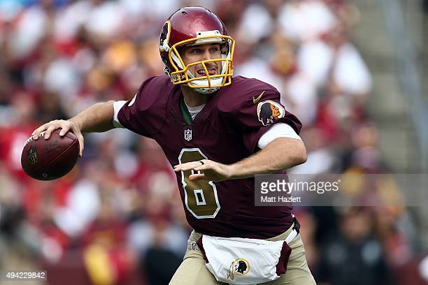 Quarterback Kirk Cousins of the Washington Redskins drops back to pass in the second quarter of a game against the Tampa Bay Buccaneers at FedExField...