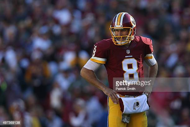 Quarterback Kirk Cousins of the Washington Redskins looks on against the New Orleans Saints at FedExField on November 15 2015 in Landover Maryland...