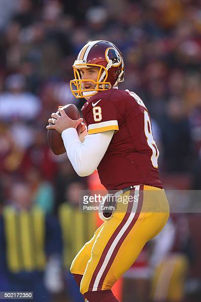 Quarterback Kirk Cousins of the Washington Redskins makes a pass against the Buffalo Bills in the first half at FedExField on December 20 2015 in...