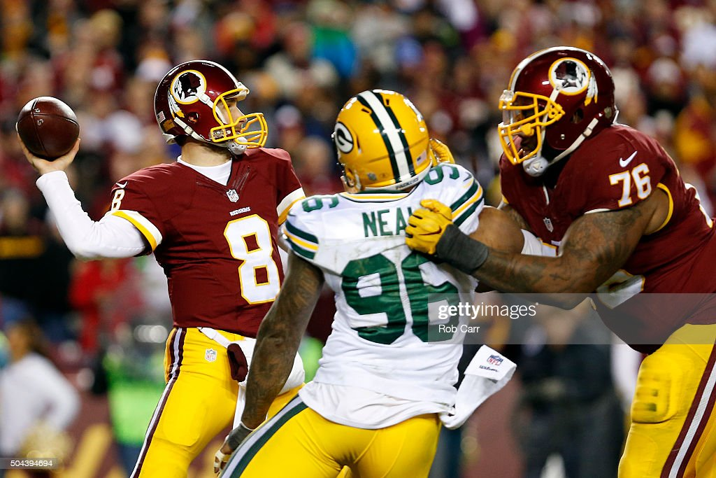Quarterback <a gi-track='captionPersonalityLinkClicked' href=/galleries/search?phrase=Kirk+Cousins&family=editorial&specificpeople=5571638 ng-click='$event.stopPropagation()'>Kirk Cousins</a> #8 of the Washington Redskins passes the ball while teammate tackle <a gi-track='captionPersonalityLinkClicked' href=/galleries/search?phrase=Morgan+Moses&family=editorial&specificpeople=7320526 ng-click='$event.stopPropagation()'>Morgan Moses</a> #76 blocks against outside linebacker <a gi-track='captionPersonalityLinkClicked' href=/galleries/search?phrase=Mike+Neal+-+American+Football+Player&family=editorial&specificpeople=11464524 ng-click='$event.stopPropagation()'>Mike Neal</a> #96 of the Green Bay Packers in the third quarter during the NFC Wild Card Playoff game at FedExField on January 10, 2016 in Landover, Maryland.