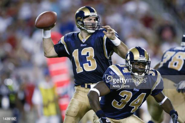 Quarterback Kurt Warner of the St Louis Rams throws a pass during the NFL game against the Tampa Bay Buccaneers on September 23 2002 at Raymond James...