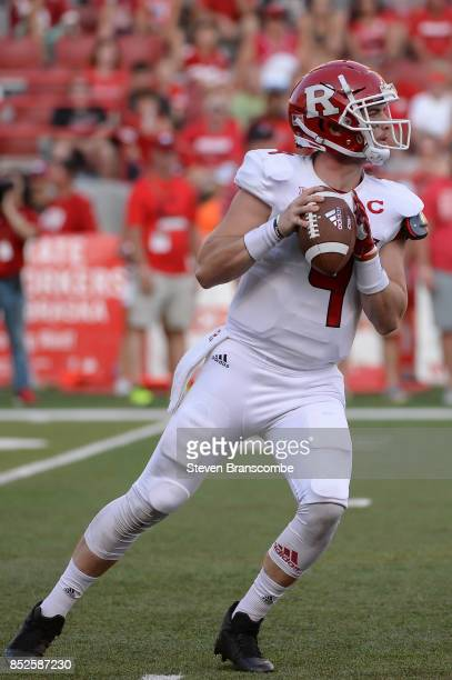 Quarterback Kyle Bolin of the Rutgers Scarlet Knights passes against the Nebraska Cornhuskers at Memorial Stadium on September 23 2017 in Lincoln...