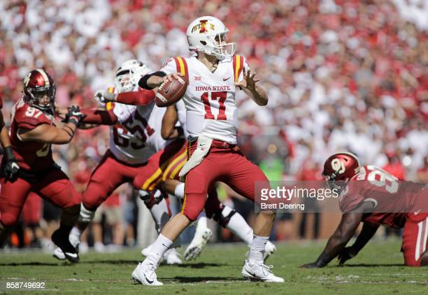 Quarterback Kyle Kempt of the Iowa State Cyclones looks to throw against the Oklahoma Sooners at Gaylord Family Oklahoma Memorial Stadium on October...