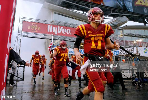 Quarterback Kyle Kempt of the Iowa State Cyclones takes the field before game action against the Kansas Jayhawks at Jack Trice Stadium on October 14...