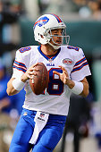 Quarterback Kyle Orton of the Buffalo Bills looks to pass against the New York Jets in the first quarter at MetLife Stadium on October 26 2014 in...