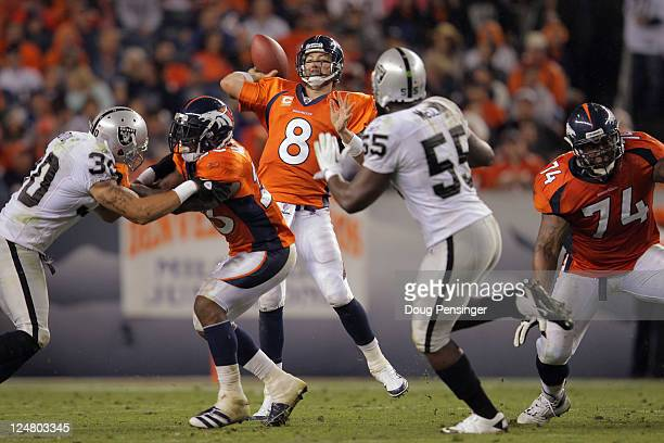 Quarterback Kyle Orton of the Denver Broncos delivers a pass against the Oakland Raiders at Sports Authority Field at Mile High on September 12 2011...