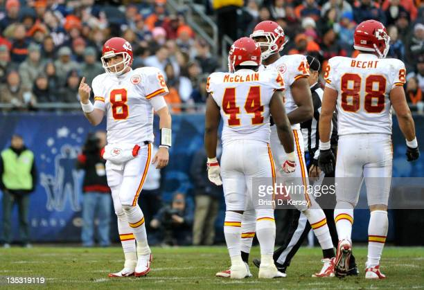 Quarterback Kyle Orton of the Kansas City Chiefs holds up his finger after injuring it against the Chicago Bears at Soldier Field on December 4 2011...