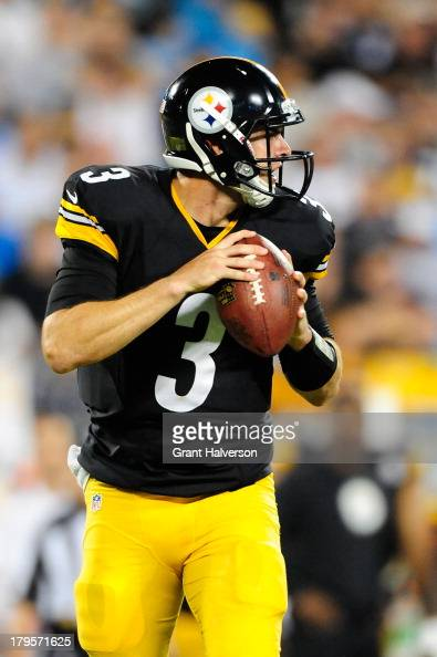 Quarterback Landry Jones of the Pittsburgh Steelers during a game against the Carolina Panthers at Bank of America Stadium on August 29 2013 in...