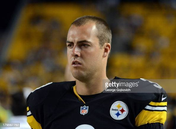 Quarterback Landry Jones of the Pittsburgh Steelers looks on from the sideline during a preseason game against the New York Giants at Heinz Field on...