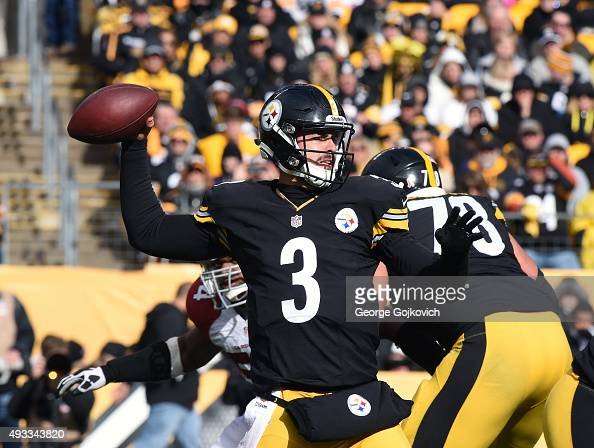 Quarterback Landry Jones of the Pittsburgh Steelers passes during a game against the Arizona Cardinals at Heinz Field on October 18 2015 in...