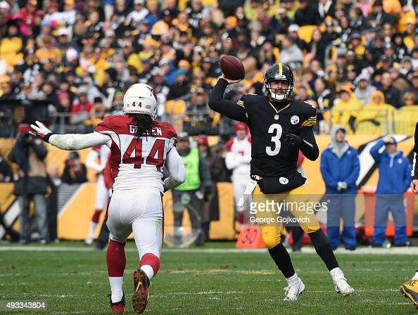 Quarterback Landry Jones of the Pittsburgh Steelers passes while under pressure from linebacker Markus Golden of the Arizona Cardinals during a game...