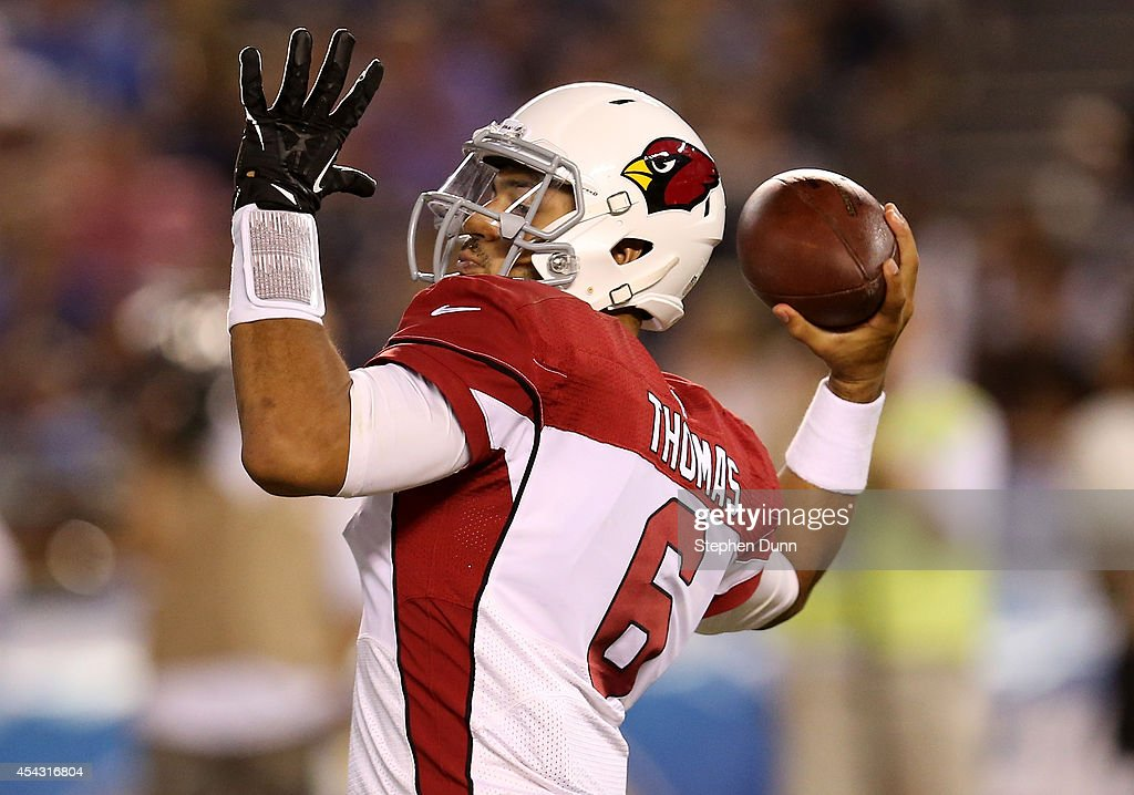 Quarterback Logan Thomas #6 of the Arizona Cardinals throws a pass against the San Diego Chargers at Qualcomm Stadium on August 28, 2014 in San Diego, California.